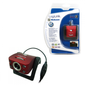 Logilink USB 2.0 bordó-fekete mikrofonos webkamera (UA0067)
