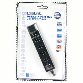 LogiLink USB 2.0 7 portos hub, ki/be kapcsolóval (UA0124)