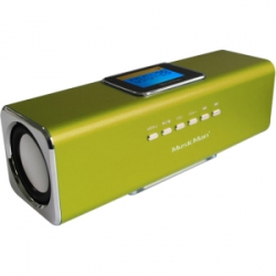 MusicMan 2.0 Speaker System - 6 W RMS - Portable - Battery Rechargeable - Green - 150 Hz - 18 kHz - USB - iPod Supported