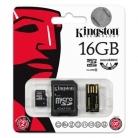 Kingston 16 GB Multi Kit /Class 10 microSD memóriakártya + SD adapter + USB olvasó/ (MBLY10G2/16GB)