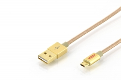 EDNET 31054 USB A MICRO B CHARGER/DATA Kábel arany színű