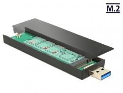 DELOCK KÜLSŐ M2 SSD 80mm HDD HÁZ (FEKETE) - USB 3.1 3.2  (42593)