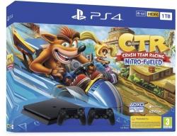 PlayStation 4 Slim 1TB Konzol 2db DualShock 4 v2 fekete kontrollerel és Crash Team Racing szoftverrel (PS4)