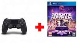 Playstation Dualshock 4 V2 fekete + Agents of Mayhem szoftver PS4