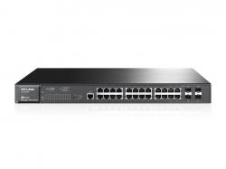 TP-LINK TL-SG3424P JetStream 24 portos gigabites L2 vezérelhető PoE+ switch 4 db kombó SFP csatlakozóval