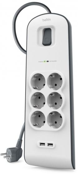 Belkin BSV604VF2M szürke-fehér túlfeszültségvédős elosztó