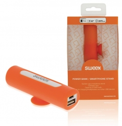 SWEEX Hordozható Külső Akkumlátor 2500 mAh USB Narancs (SW2500PB001OR)