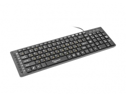 Keyboard Gembird KB-MCH-01 USB 1.5m X-scissors Multimedia RU layout fekete (KB-MCH-01-RU)