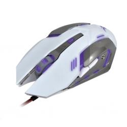 X-ZERO Gaming optikai egér 6D 3200dpi 6 multifunkciós billentyű fehér-ezüst (X-M372WA)