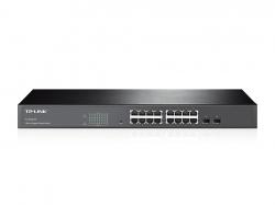 TP-LINK TL-SG2216 16 portos gigabites smart switch 2 db kombó SFP csatlakozóval