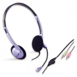 Genius Fejhallgató - HS-02B (3.5mm Jack, hangerőszabályozó, mikrofon, lila-fekete)