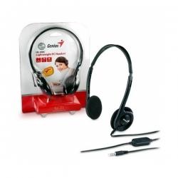 Genius Fejhallgató - HS-M200C (3.5mm Jack, hangerőszabályozó, mikrofon, fekete)