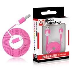 GT USB-Micro USB lapos rózsaszín kábel (GT783615)