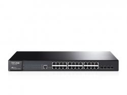 TP-LINK T2600G-28TS JetStream 24 portos gigabites L2 vezérelhető switch 4 db SFP lehetőséggel