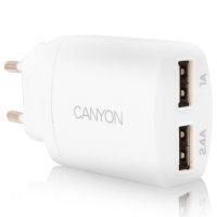Canyon CNE-CHA22W dupla USB fehér hálózati töltőfej