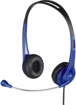 HAMA HS-260 mikrofonos fekete-kék headset (53964)