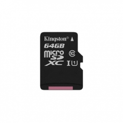 KINGSTON MEMÓRIAKÁRTYA MICROSDXC 64GB CL10 UHS-I CANVAS SELECT (80/10) ADAPTER NÉLKÜL