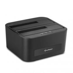 Sharkoon HDD Dokkoló - QuickPort XT Duo Clone (fekete; 2x 2,5''-3,5'' SataHDD; USB3.0; PC nélküli klónozás funkció)
