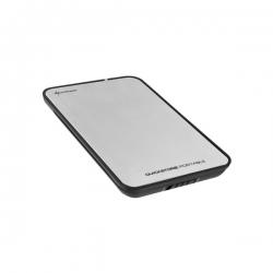 Sharkoon Külső HDD Ház 2.5'' - QuickStore Portable (ezüst; max 9,5mm 2,5'' Sata HDD - USB csatl.; szálcsiszolt felső r.)