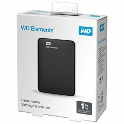 Western Digital Külső HDD 2.5'' 1TB - WDBUZG0010BBK-WESN (Elements Portable, USB3.0, Fekete)