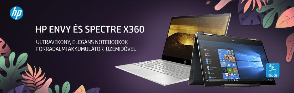 HP ENVY és Spectre X360 notebookok
