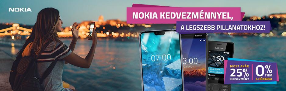 Nokia klasszikus- és okostelefonok akár 25% kedvezménnyel és 0% THM-el!