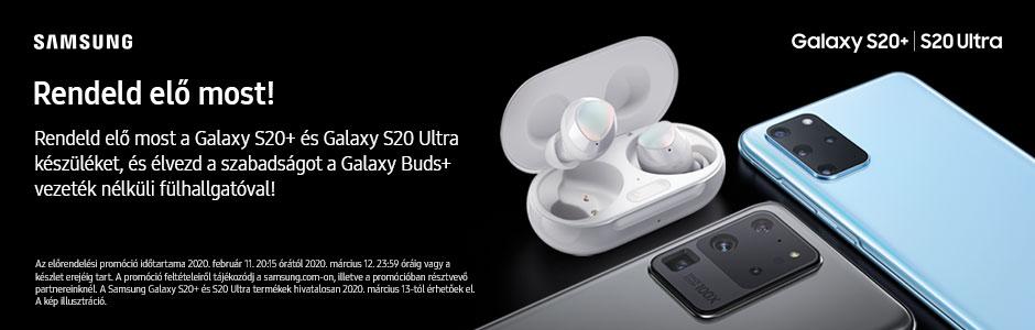 Samsung Galaxy S20, S20+ és S20 Ultra előrendelés, most akár ráadás Galaxy Buds+ fülhallgatóval!