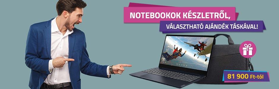 Notebookok készletről, választható ajándék táskával!